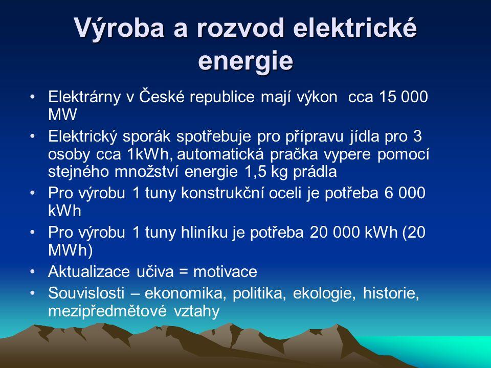 Výroba a rozvod elektrické energie Elektrárny v České republice mají výkon cca 15 000 MW Elektrický sporák spotřebuje pro přípravu jídla pro 3 osoby c