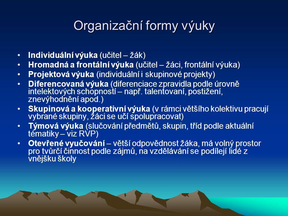 Organizační formy výuky Individuální výuka (učitel – žák) Hromadná a frontální výuka (učitel – žáci, frontální výuka) Projektová výuka (individuální i
