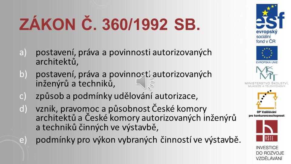 Odborné činnosti ve výstavbě mohou provádět pouze osoby se zvláštním oprávněním; Problematiku autorizovaných osob řeší zákon č. 360/1992 Sb. o výkonu