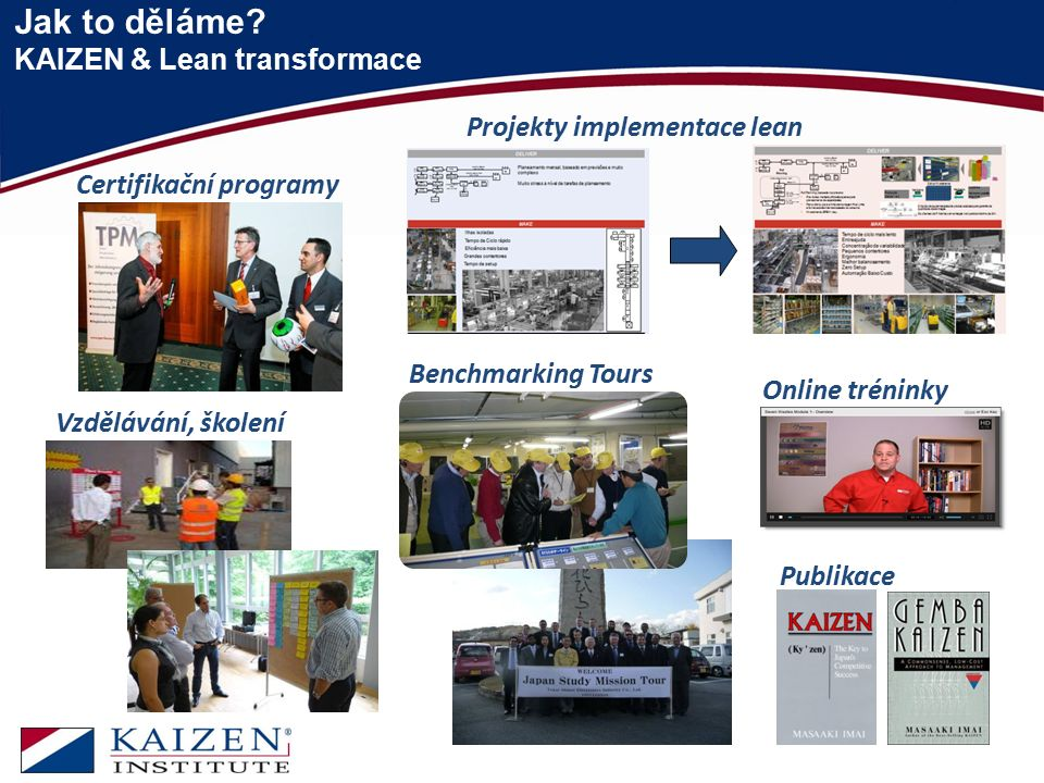Jak to děláme? KAIZEN & Lean transformace Certifikační programy Projekty implementace lean Vzdělávání, školení Benchmarking Tours Online tréninky Publ