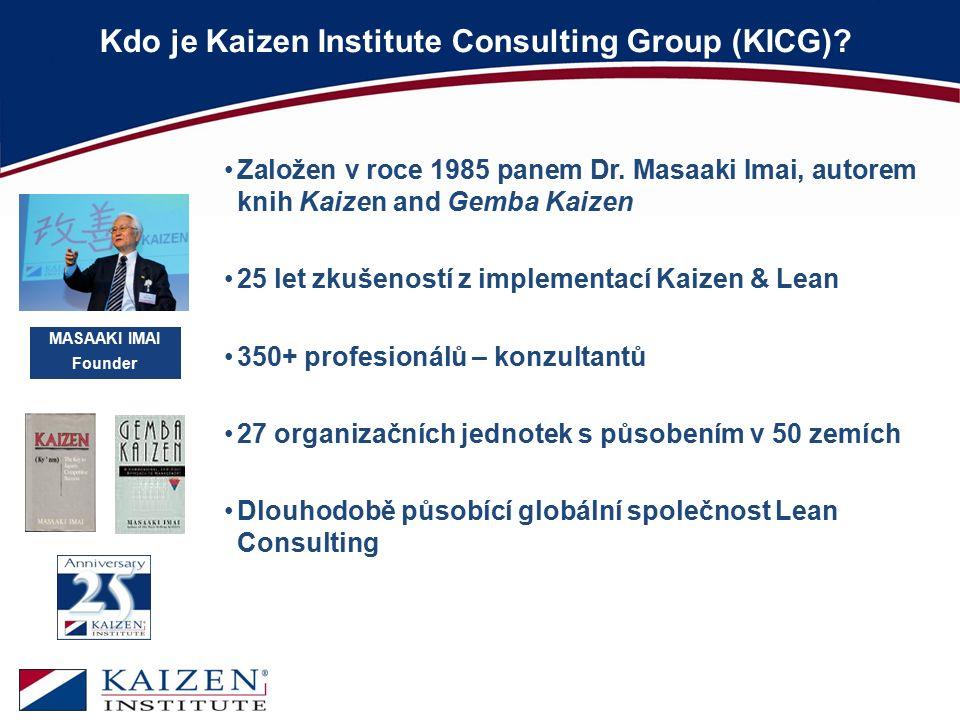 Kdo je Kaizen Institute Consulting Group (KICG)? MASAAKI IMAI Founder Založen v roce 1985 panem Dr. Masaaki Imai, autorem knih Kaizen and Gemba Kaizen