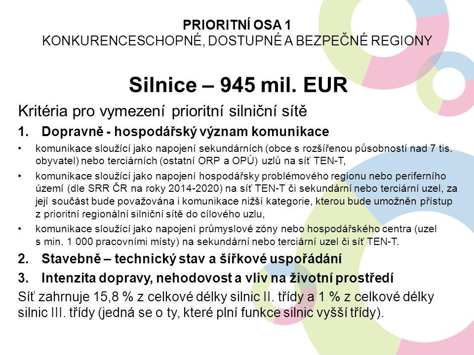 Silnice – 945 mil. EUR Kritéria pro vymezení prioritní silniční sítě 1.Dopravně - hospodářský význam komunikace komunikace sloužící jako napojení seku