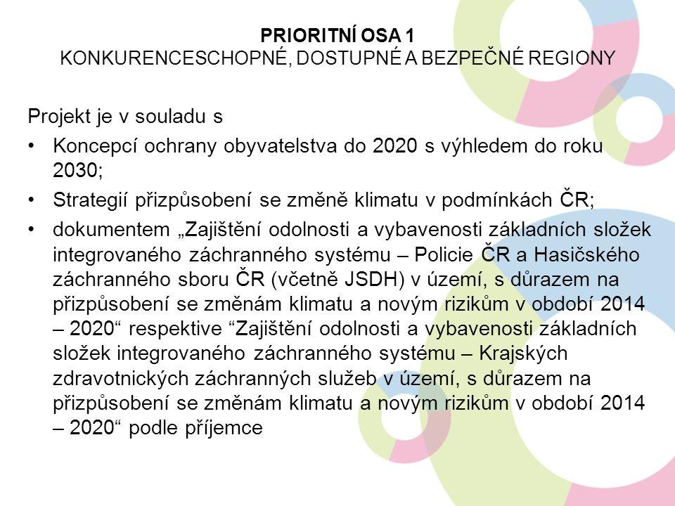 Projekt je v souladu s Koncepcí ochrany obyvatelstva do 2020 s výhledem do roku 2030; Strategií přizpůsobení se změně klimatu v podmínkách ČR; dokumen