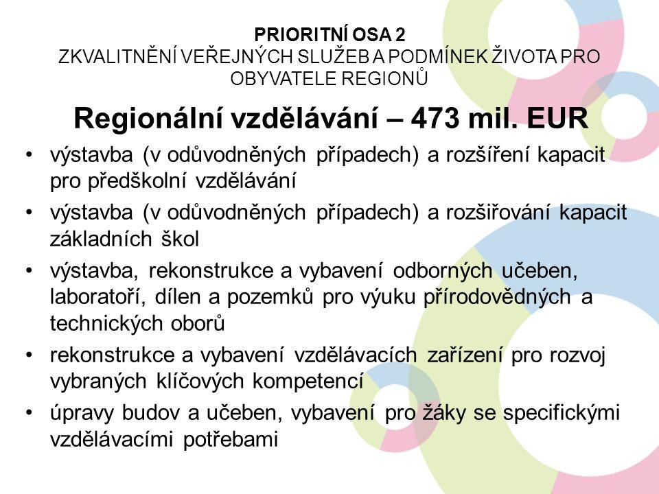 Regionální vzdělávání – 473 mil. EUR výstavba (v odůvodněných případech) a rozšíření kapacit pro předškolní vzdělávání výstavba (v odůvodněných případ