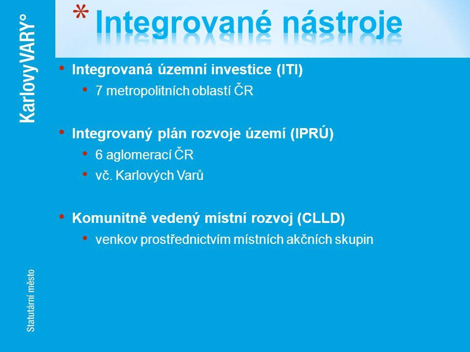 Integrovaná územní investice (ITI) 7 metropolitních oblastí ČR Integrovaný plán rozvoje území (IPRÚ) 6 aglomerací ČR vč. Karlových Varů Komunitně vede