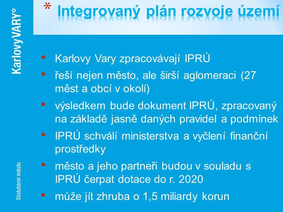 Karlovy Vary zpracovávají IPRÚ řeší nejen město, ale širší aglomeraci (27 měst a obcí v okolí) výsledkem bude dokument IPRÚ, zpracovaný na základě jas