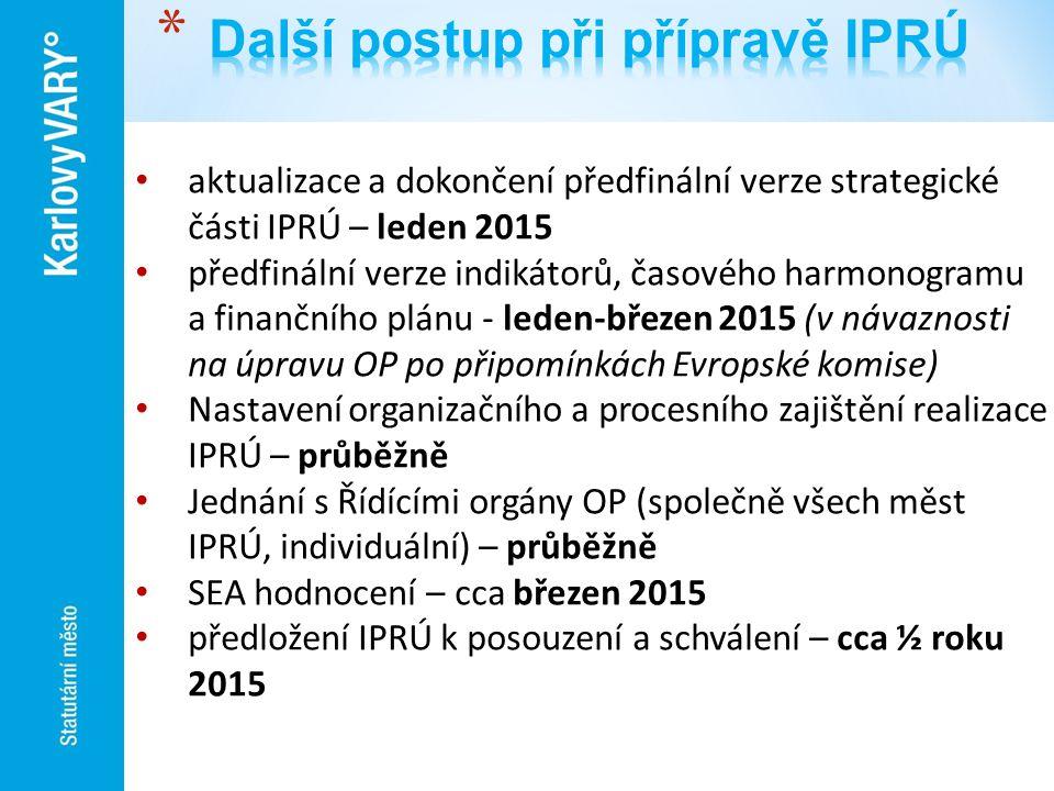 aktualizace a dokončení předfinální verze strategické části IPRÚ – leden 2015 předfinální verze indikátorů, časového harmonogramu a finančního plánu -