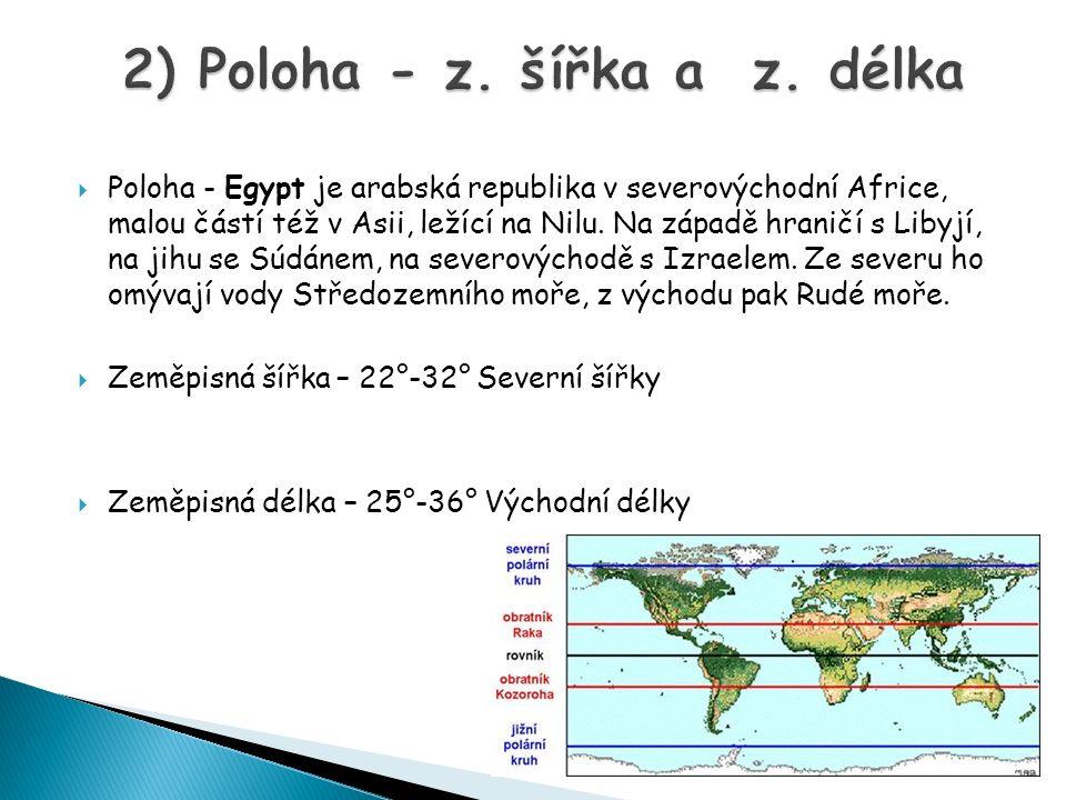  Poloha - Egypt je arabská republika v severovýchodní Africe, malou částí též v Asii, ležící na Nilu.