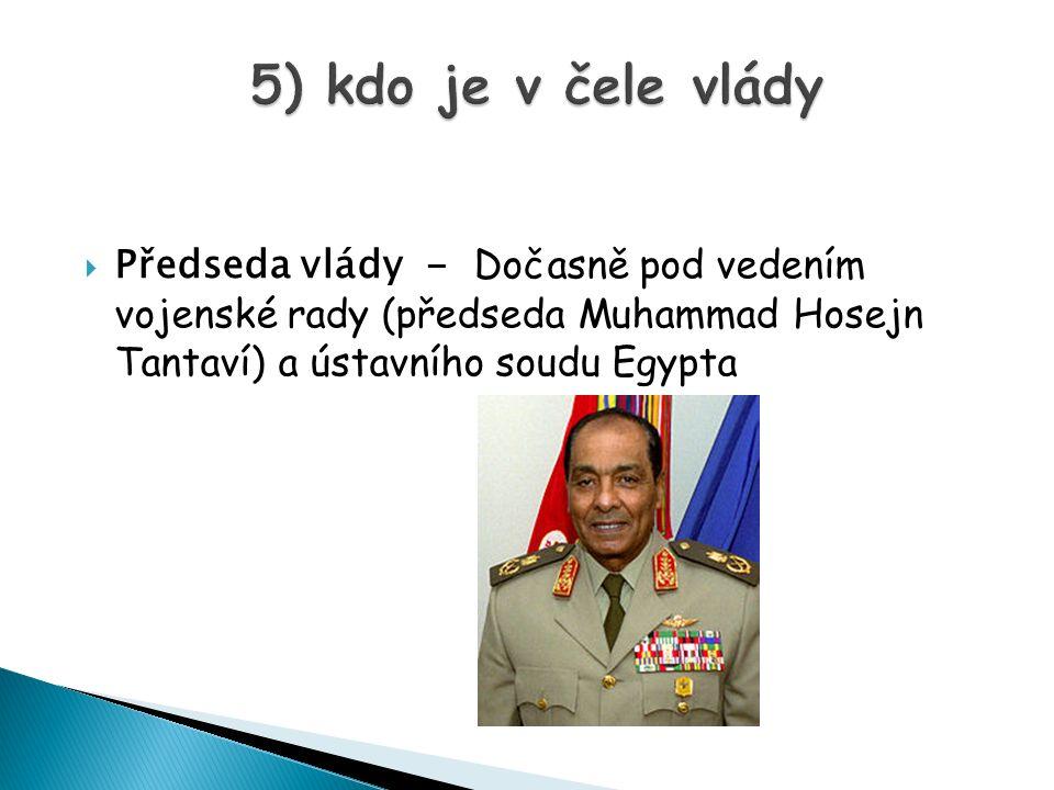  Předseda vlády - Dočasně pod vedením vojenské rady (předseda Muhammad Hosejn Tantaví) a ústavního soudu Egypta