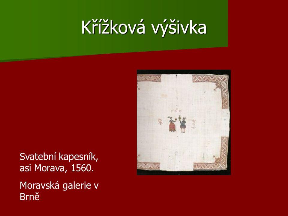 Křížková výšivka Svatební kapesník, asi Morava, 1560. Moravská galerie v Brně