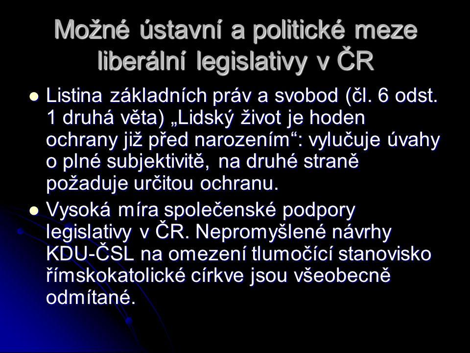 """Možné ústavní a politické meze liberální legislativy v ČR Listina základních práv a svobod (čl. 6 odst. 1 druhá věta) """"Lidský život je hoden ochrany j"""