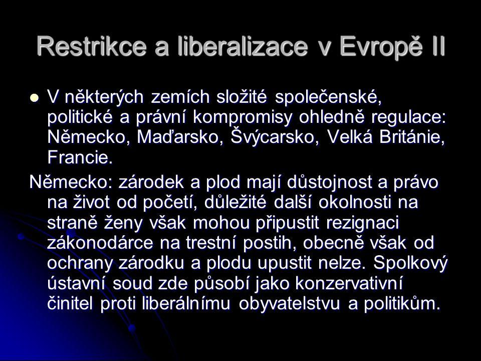 Restrikce a liberalizace v Evropě II V některých zemích složité společenské, politické a právní kompromisy ohledně regulace: Německo, Maďarsko, Švýcar