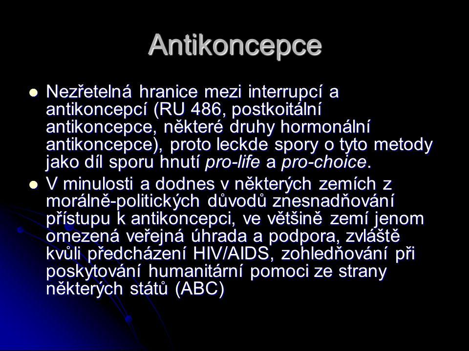 Antikoncepce Nezřetelná hranice mezi interrupcí a antikoncepcí (RU 486, postkoitální antikoncepce, některé druhy hormonální antikoncepce), proto leckd