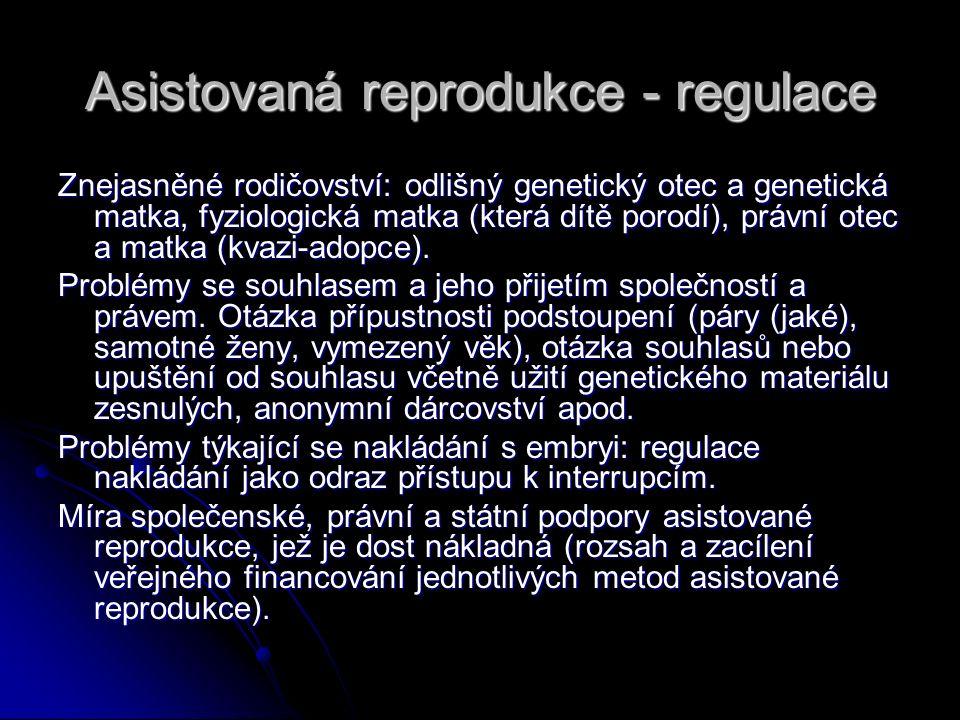 Asistovaná reprodukce - regulace Znejasněné rodičovství: odlišný genetický otec a genetická matka, fyziologická matka (která dítě porodí), právní otec
