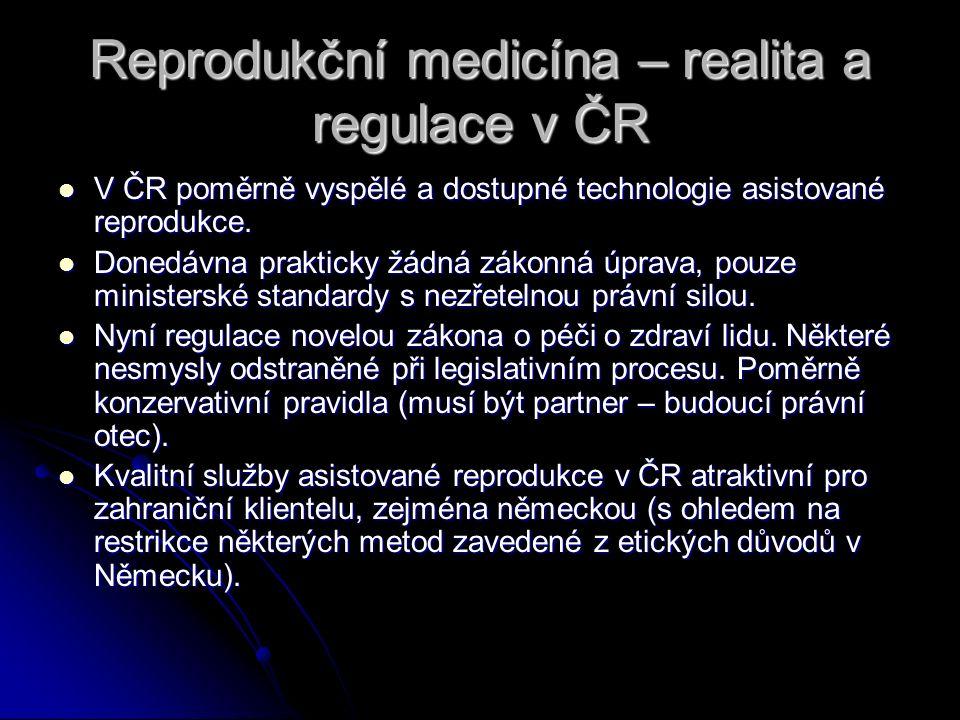 Reprodukční medicína – realita a regulace v ČR V ČR poměrně vyspělé a dostupné technologie asistované reprodukce. V ČR poměrně vyspělé a dostupné tech