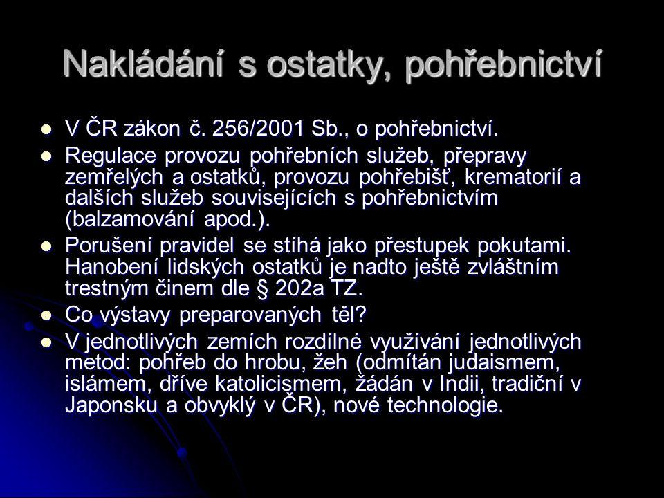 Nakládání s ostatky, pohřebnictví V ČR zákon č. 256/2001 Sb., o pohřebnictví. V ČR zákon č. 256/2001 Sb., o pohřebnictví. Regulace provozu pohřebních