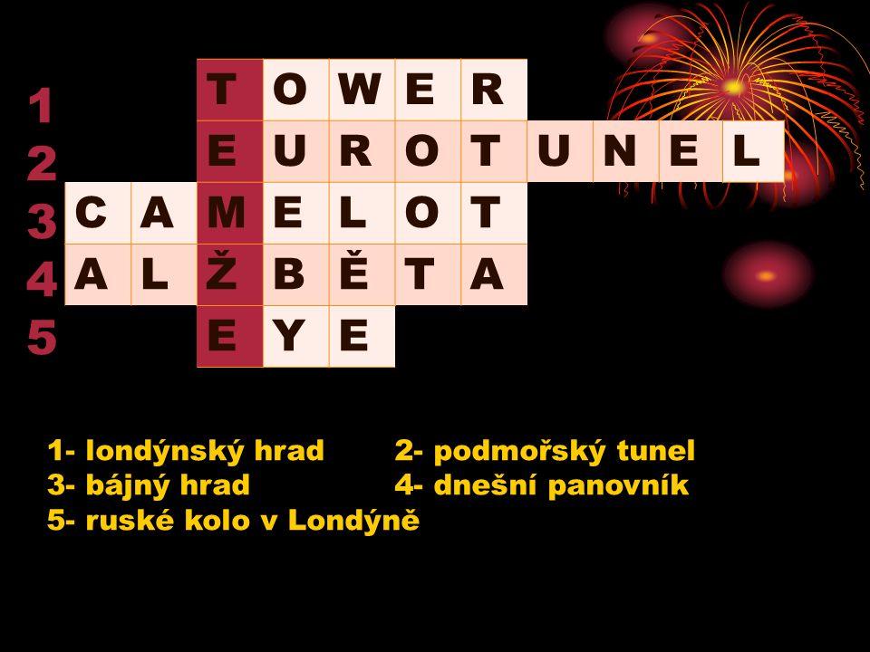 TOWER EUROTUNE CAMELOT ALŽBĚTA EYE 1234512345 1- londýnský hrad2- podmořský tunel 3- bájný hrad4- dnešní panovník 5- ruské kolo v Londýně L