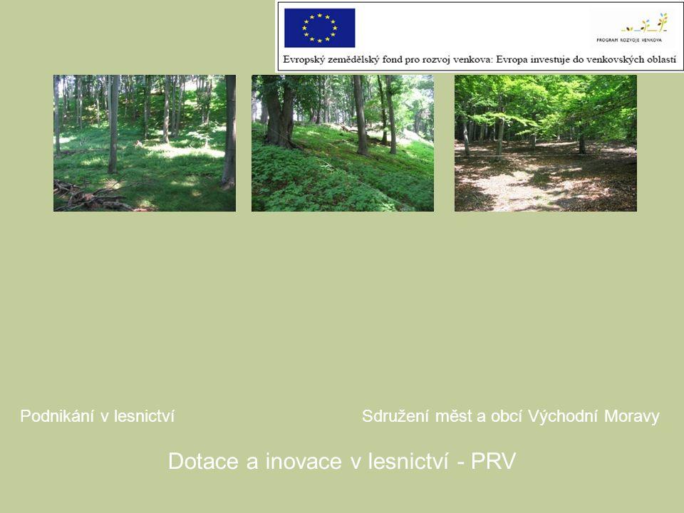 Podnikání v lesnictvíSdružení měst a obcí Východní Moravy Dotace a inovace v lesnictví - PRV
