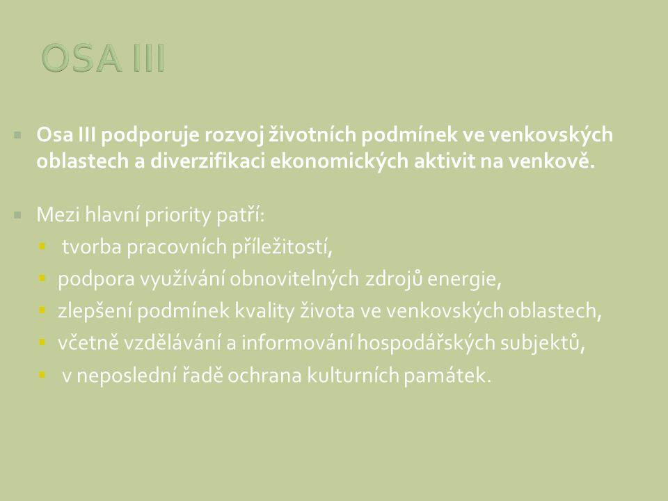  Osa III podporuje rozvoj životních podmínek ve venkovských oblastech a diverzifikaci ekonomických aktivit na venkově.  Mezi hlavní priority patří:
