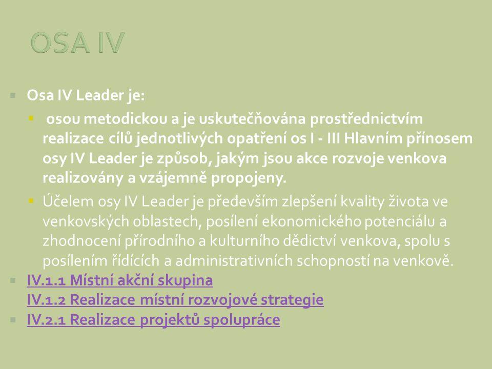  Osa IV Leader je:  osou metodickou a je uskutečňována prostřednictvím realizace cílů jednotlivých opatření os I - III Hlavním přínosem osy IV Leade