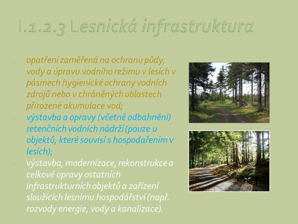 o opatření zaměřená na ochranu půdy, vody a úpravu vodního režimu v lesích v pásmech hygienické ochrany vodních zdrojů nebo v chráněných oblastech při