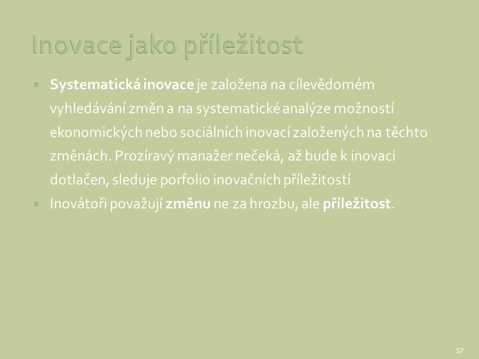  Systematická inovace je založena na cílevědomém vyhledávání změn a na systematické analýze možností ekonomických nebo sociálních inovací založených