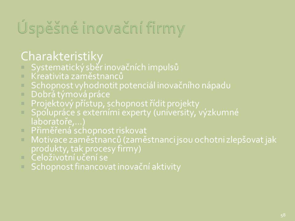 Charakteristiky  Systematický sběr inovačních impulsů  Kreativita zaměstnanců  Schopnost vyhodnotit potenciál inovačního nápadu  Dobrá týmová prác