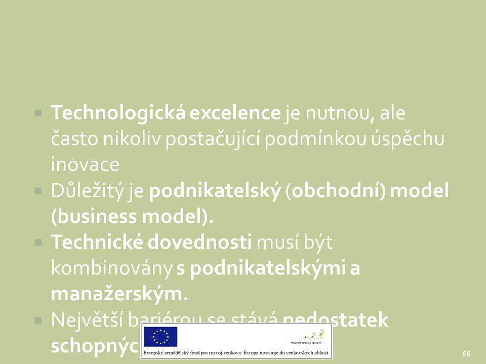  Technologická excelence je nutnou, ale často nikoliv postačující podmínkou úspěchu inovace  Důležitý je podnikatelský (obchodní) model (business mo