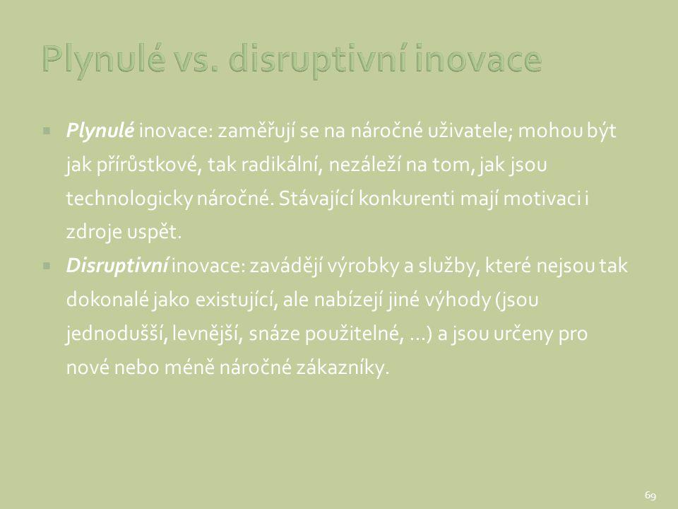  Plynulé inovace: zaměřují se na náročné uživatele; mohou být jak přírůstkové, tak radikální, nezáleží na tom, jak jsou technologicky náročné. Stávaj