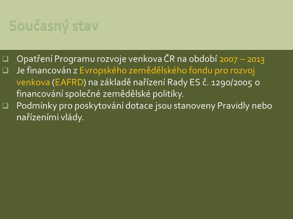  Opatření Programu rozvoje venkova ČR na období 2007 – 2013  Je financován z Evropského zemědělského fondu pro rozvoj venkova (EAFRD) na základě nař