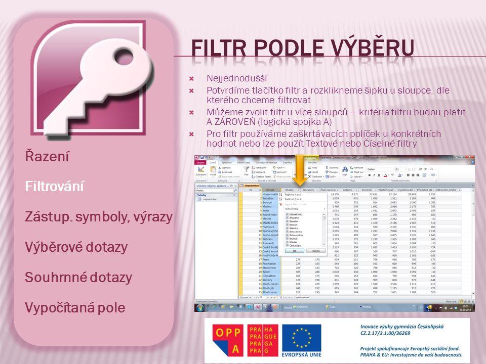  Filtr dle výběru vždy nestačí, zvláště potřebujeme-li použít mezi kritérii logickou spojku NEBO  Zadáním kritérií do jednotlivých polí sestavujeme výslednou podmínku pro filtr (výběr) záznamů  K definici složitějších podmínek použijeme ouška ve spodní části listu s nápisy Hledat a Nebo  K zadání podmínek využíváme logických spojek nebo zástupných symbolů (*, ?, …)  Prázdné pole definujeme zadáním kritéria pomocí funkce IS NULL nebo Řazení Filtrování Zástup.
