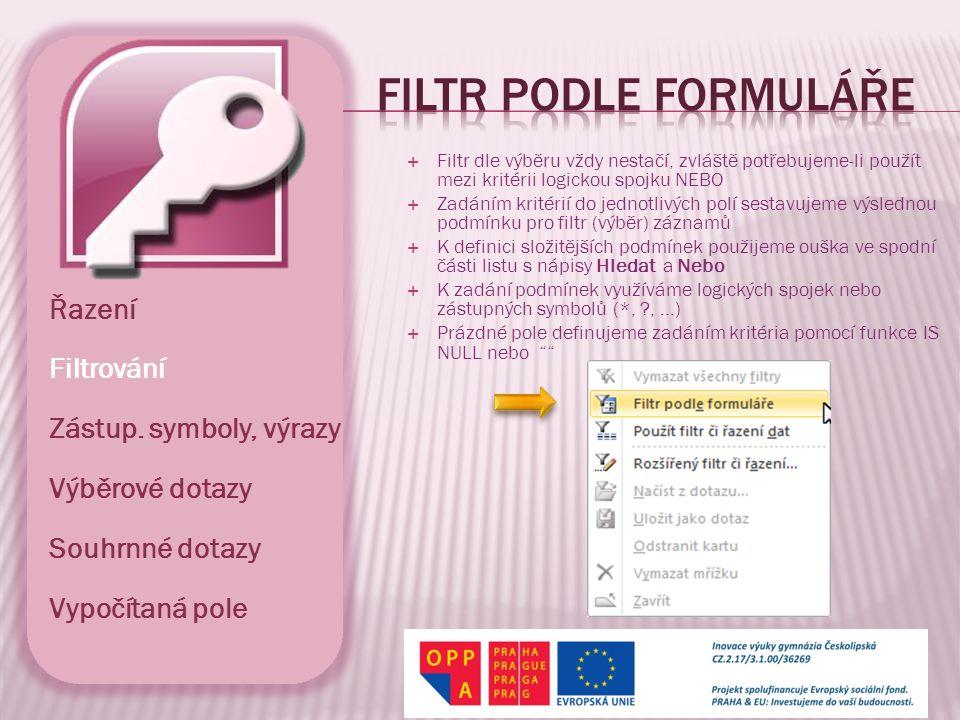  Ani filtr dle formuláře vždy nestačí, zvláště potřebujeme-li použít speciální podmínky, které si před filtrováním musí údaje přepočítat  Zadáním kritérií se již velmi podobá použití výběrových dotazů  Do sloupců ve spodní části tažením přetáhneme pole, podle kterého chceme filtrovat  V poli lze nastavovat podmínky filtru na řádkách A i NEBO a způsob řazení  K definici podmínek využíváme zástupných symbolů a výrazů Řazení Filtrování Zástup.