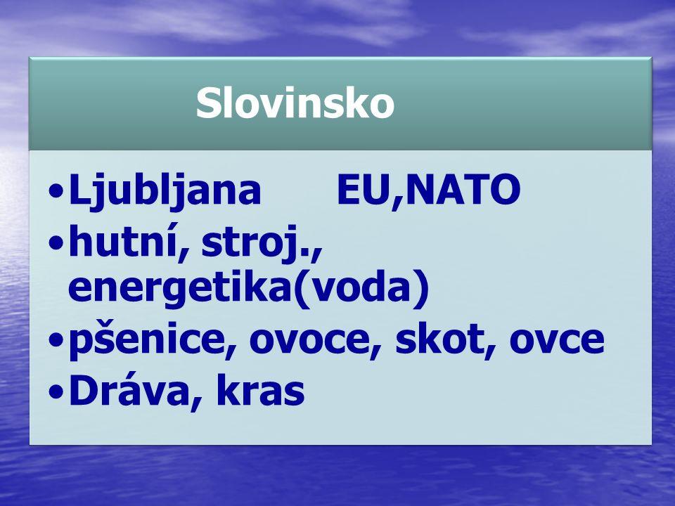 Slovinsko LjubljanaEU,NATO hutní, stroj., energetika(voda) pšenice, ovoce, skot, ovce Dráva, kras