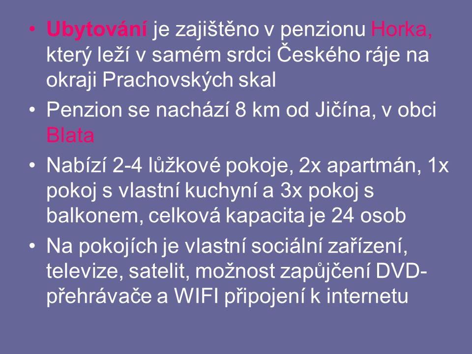 Ubytování je zajištěno v penzionu Horka, který leží v samém srdci Českého ráje na okraji Prachovských skal Penzion se nachází 8 km od Jičína, v obci Blata Nabízí 2-4 lůžkové pokoje, 2x apartmán, 1x pokoj s vlastní kuchyní a 3x pokoj s balkonem, celková kapacita je 24 osob Na pokojích je vlastní sociální zařízení, televize, satelit, možnost zapůjčení DVD- přehrávače a WIFI připojení k internetu