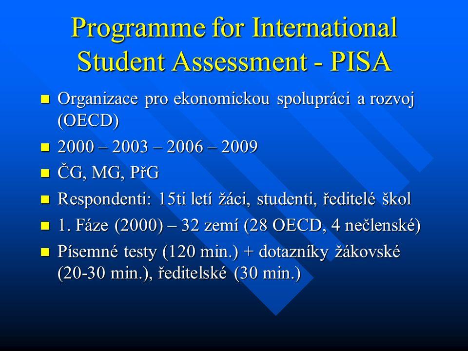 Programme for International Student Assessment - PISA Organizace pro ekonomickou spolupráci a rozvoj (OECD) Organizace pro ekonomickou spolupráci a ro