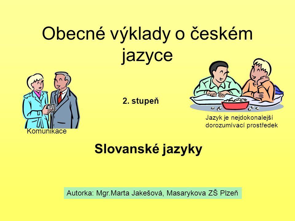 Obecné výklady o českém jazyce Slovanské jazyky 2. stupeň Autorka: Mgr.Marta Jakešová, Masarykova ZŠ Plzeň Komunikace Jazyk je nejdokonalejší dorozumí