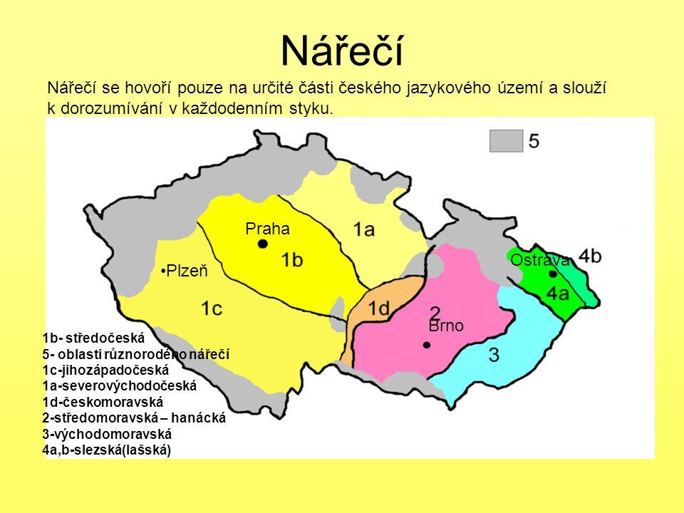 Nářečí Nářečí se hovoří pouze na určité části českého jazykového území a slouží k dorozumívání v každodenním styku. 1b- středočeská 5- oblasti různoro