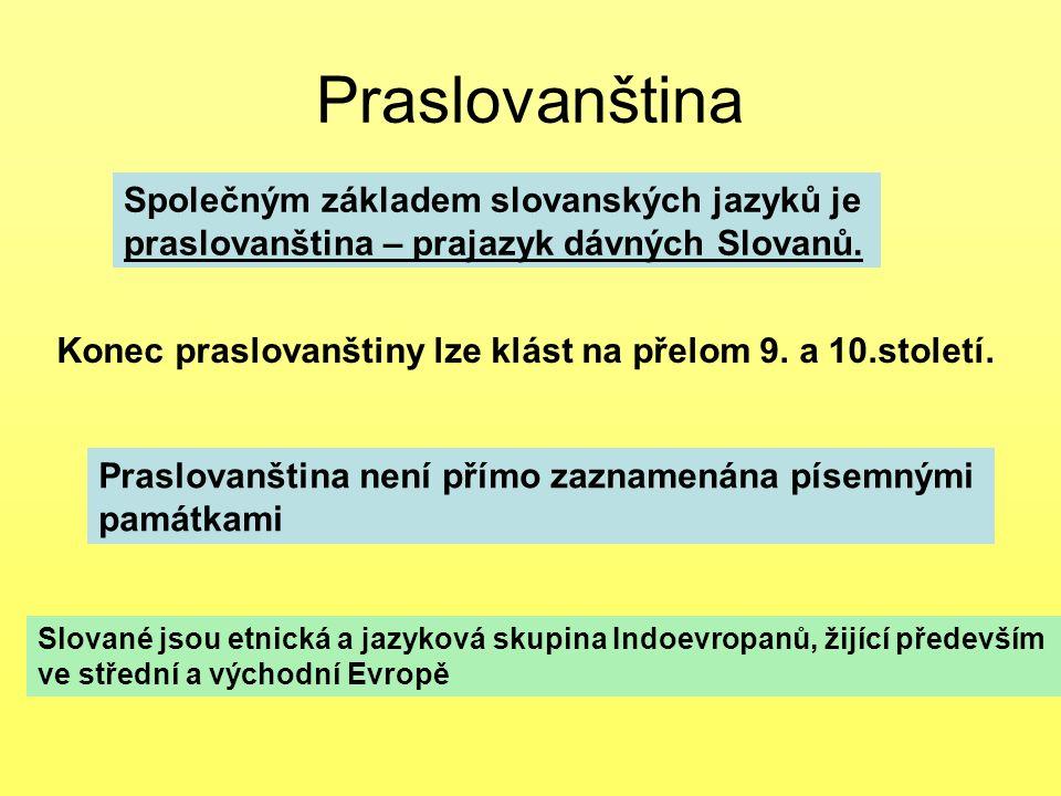 Praslovanština Společným základem slovanských jazyků je praslovanština – prajazyk dávných Slovanů. Konec praslovanštiny lze klást na přelom 9. a 10.st