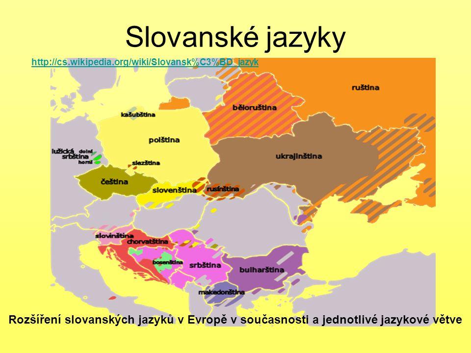 Slovanské jazyky Rozšíření slovanských jazyků v Evropě v současnosti a jednotlivé jazykové větve http://cs.wikipedia.org/wiki/Slovansk%C3%BD_jazyk
