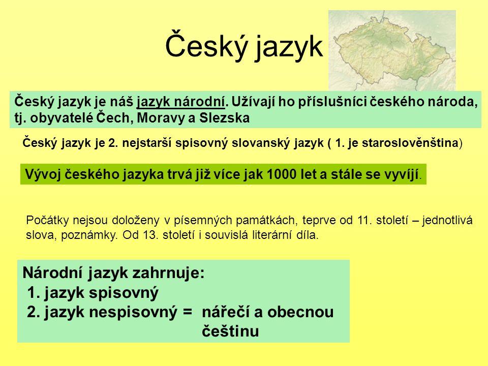 Český jazyk Český jazyk je náš jazyk národní. Užívají ho příslušníci českého národa, tj. obyvatelé Čech, Moravy a Slezska Národní jazyk zahrnuje: 1. j