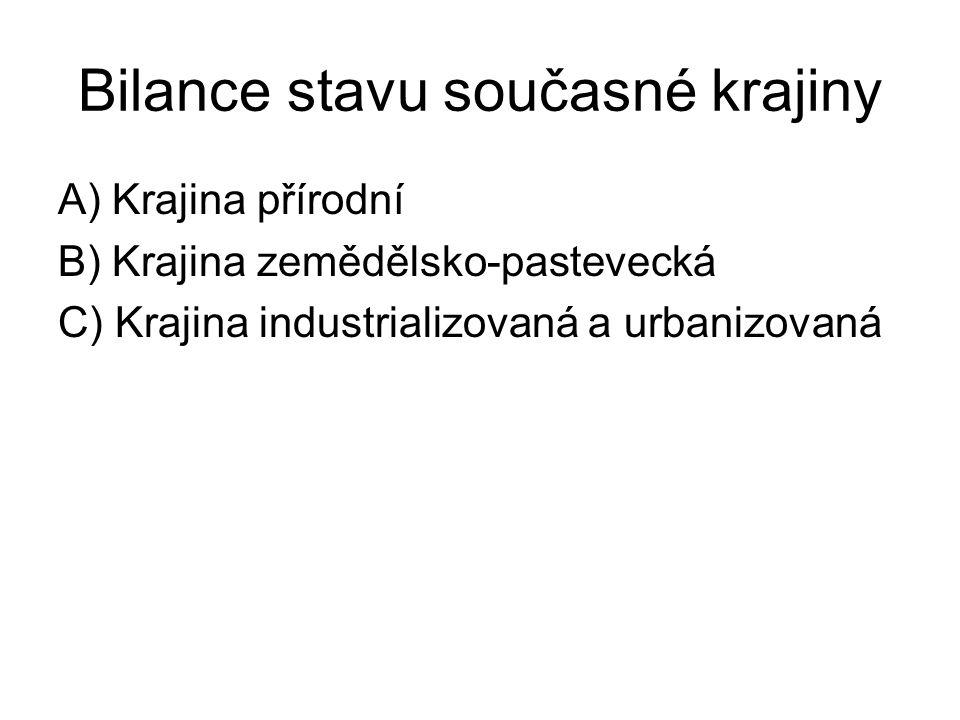 Bilance stavu současné krajiny A) Krajina přírodní B) Krajina zemědělsko-pastevecká C) Krajina industrializovaná a urbanizovaná