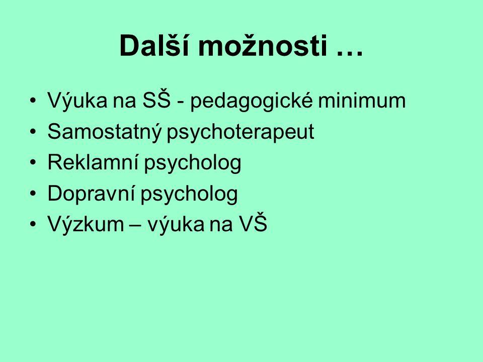 Další možnosti … Výuka na SŠ - pedagogické minimum Samostatný psychoterapeut Reklamní psycholog Dopravní psycholog Výzkum – výuka na VŠ