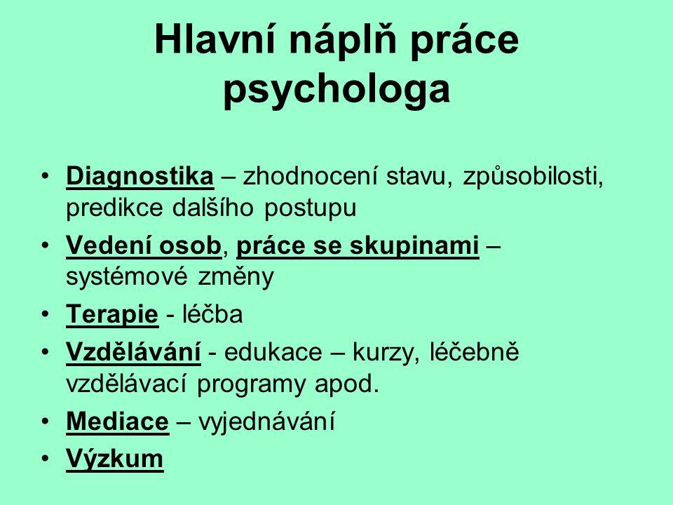 Hlavní náplň práce psychologa Diagnostika – zhodnocení stavu, způsobilosti, predikce dalšího postupu Vedení osob, práce se skupinami – systémové změny