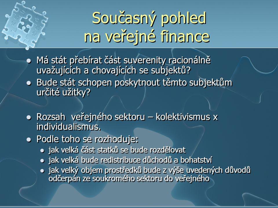 Současný pohled na veřejné finance Má stát přebírat část suverenity racionálně uvažujících a chovajících se subjektů.