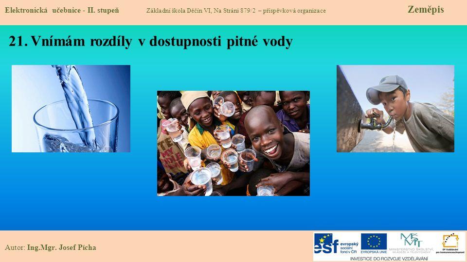 21. Vnímám rozdíly v dostupnosti pitné vody Elektronická učebnice - II.