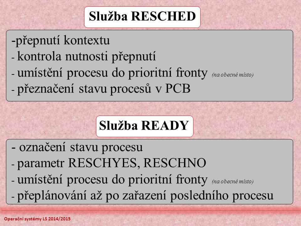 Služba RESCHED -přepnutí kontextu - kontrola nutnosti přepnutí - umístění procesu do prioritní fronty (na obecné místo) - přeznačení stavu procesů v PCB Služba READY - označení stavu procesu - parametr RESCHYES, RESCHNO - umístění procesu do prioritní fronty (na obecné místo) - přeplánování až po zařazení posledního procesu Operační systémy LS 2014/2015