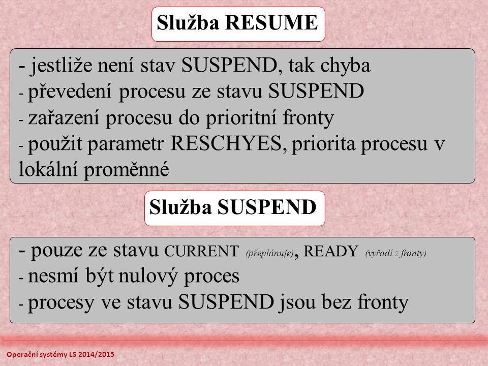 Služba RESUME - jestliže není stav SUSPEND, tak chyba - převedení procesu ze stavu SUSPEND - zařazení procesu do prioritní fronty - použit parametr RESCHYES, priorita procesu v lokální proměnné Služba SUSPEND - pouze ze stavu CURRENT (přeplánuje), READY (vyřadí z fronty) - nesmí být nulový proces - procesy ve stavu SUSPEND jsou bez fronty Operační systémy LS 2014/2015