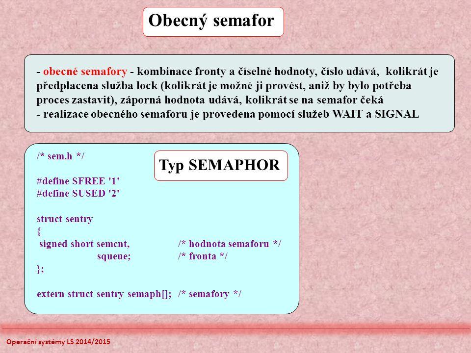 Obecný semafor - obecné semafory - kombinace fronty a číselné hodnoty, číslo udává, kolikrát je předplacena služba lock (kolikrát je možné ji provést, aniž by bylo potřeba proces zastavit), záporná hodnota udává, kolikrát se na semafor čeká - realizace obecného semaforu je provedena pomocí služeb WAIT a SIGNAL /* sem.h */ #define SFREE 1 #define SUSED 2 struct sentry { signed short semcnt, /* hodnota semaforu */ squeue; /* fronta */ }; extern struct sentry semaph[]; /* semafory */ Typ SEMAPHOR Operační systémy LS 2014/2015