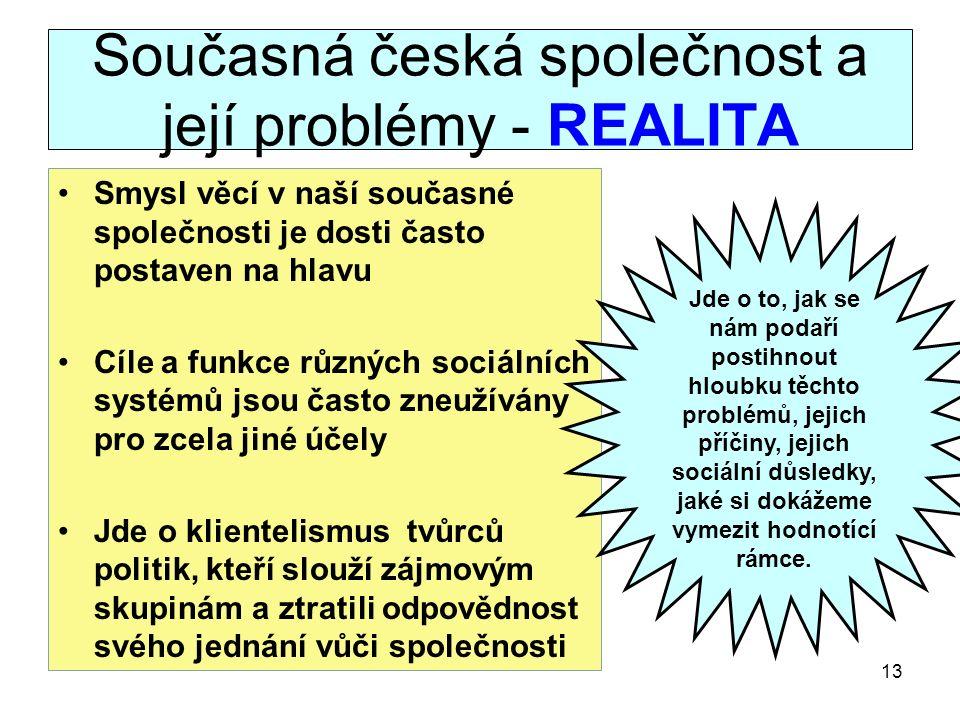 Současná česká společnost a její problémy - REALITA Smysl věcí v naší současné společnosti je dosti často postaven na hlavu Cíle a funkce různých sociálních systémů jsou často zneužívány pro zcela jiné účely Jde o klientelismus tvůrců politik, kteří slouží zájmovým skupinám a ztratili odpovědnost svého jednání vůči společnosti 13 Jde o to, jak se nám podaří postihnout hloubku těchto problémů, jejich příčiny, jejich sociální důsledky, jaké si dokážeme vymezit hodnotící rámce.
