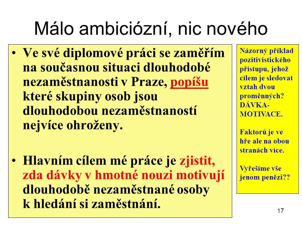 Málo ambiciózní, nic nového Ve své diplomové práci se zaměřím na současnou situaci dlouhodobé nezaměstnanosti v Praze, popíšu které skupiny osob jsou dlouhodobou nezaměstnaností nejvíce ohroženy.
